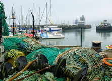 Commercial fishing nets Scarborough fishing harbour Royalty Free Stock Photo