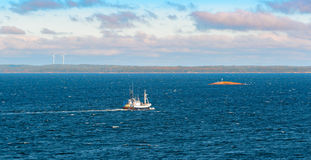 Commercial fishing trawler boat. In Aland archipelago Stock Photos