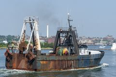 Commercial fishing vessel Tremont in New Bedford inner harbor Stock Photography