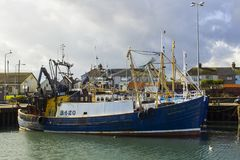 Trawlers in the small harbour in the Ards Peninsula village of Portavogie in County Down, Northern Ireland Royalty Free Stock Photos