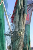 Commercial Fishnets Hanging from the Ships Mast and Rigging Royalty Free Stock Photo
