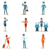 Commercial Flight Board Crew Collection Of Air Transportation Professionals Working On The Plane, Stewardesses And Stock Photography