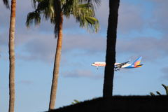 Commercial flight landing royalty free stock photography