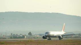 Commercial Flight Landing at Majorca Airport. Passenger Airplane Landing at Majorca Airport stock video