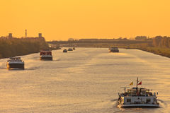 Commercial freight boats in The Netherlands Royalty Free Stock Photo