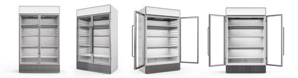 Commercial fridge with glass doors Royalty Free Stock Photography