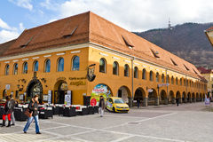 Commercial galleries Corona. (called Hirscher House in the past)from center of Brasov, Council Square(Piata Sfatului in romanian),Romania Stock Photography