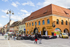Commercial galleries Corona. Or Merchants House(called Hirscher House in the past)in Council Square(Piata Sfatului in romanian) from Brasov city,Romania Stock Photos
