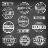Commercial Grunge Vector Stamps. Collection of 12 Hi detail commercial grunge multicolored stamps chalk drawn on a blackboard Stock Images