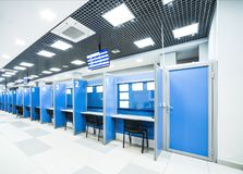 Reception. Commercial hall with its electronic queuing stock photos