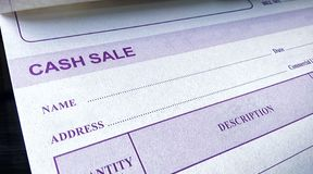 Commercial Handwritten Order Sheet for Cash Sales. stock images
