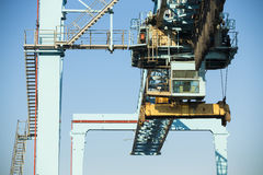 Commercial harbor with industrial cranes Royalty Free Stock Photography