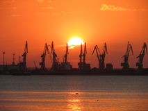 Commercial harbor Stock Image