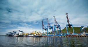 Commercial harbor vladivostok. Cargo cranes in a commercial harbor Vladivostok Royalty Free Stock Photos