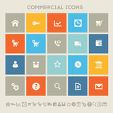 Commercial icons. Multicolored square flat buttons Stock Image