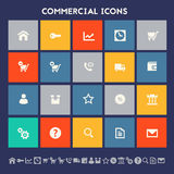 Commercial icons. Multicolored square flat buttons Stock Photos