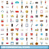 100 commercial icons set, cartoon style. 100 commercial icons set in cartoon style for any design vector illustration Stock Photo