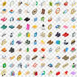 100 commercial icons set, isometric 3d style. 100 commercial icons set in isometric 3d style for any design vector illustration Royalty Free Illustration