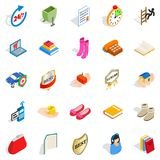 Commercial icons set, isometric style. Commercial icons set. Isometric set of 25 commercial vector icons for web isolated on white background Royalty Free Stock Photos