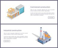 Commercial Construction Set Vector Illustration. Commercial and industrial construction, web samples set with text sample and headlines, buttons and Stock Image
