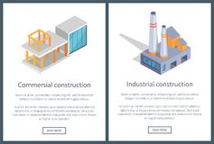 Commercial and Industrial Vector Illustration. Commercial and industrial construction, web pages set with text sample, constructions and buttons, vector Royalty Free Stock Photography