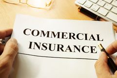 Commercial insurance form. Commercial insurance form on a table Royalty Free Stock Photo