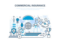 Commercial insurance. Insurance of business, ships, aircraft. Property insurance, security. Commercial insurance. Insurance of business, ships, aircraft Stock Images