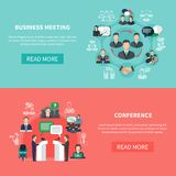 Commercial Intercourse Banners Set. Business meeting banners with round compositions of flat social images characters text and read more button vector Royalty Free Stock Images