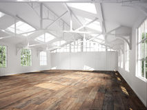 Commercial interior with hard wood floors and skylights Stock Photo