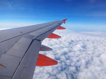 Commercial jet aircraft wing Stock Photos