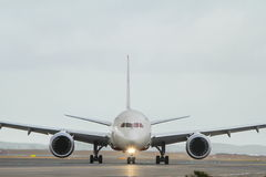 Commercial jet airliner in front view. Royalty Free Stock Photography