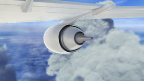 Commercial jet airplane flies above clouds with stock footage