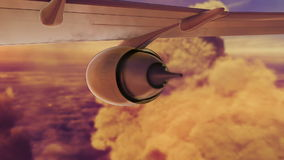 Commercial jet airplane flies above clouds with stock video footage