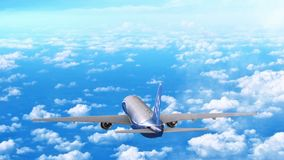 Commercial jet airplane flies at high altitude above the clouds. stock video