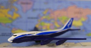 Commercial Jet Airplane with International Map stock image