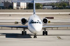 Commercial Jet on Airport Tarmac Stock Images
