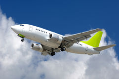 Commercial jet plane. Is about to land at airport Stock Photo
