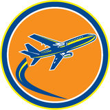Commercial Jet Plane Airline Flying Retro Royalty Free Stock Photos