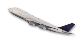 Commercial jumbo jet plane taking off, aircraft  on white Stock Photos