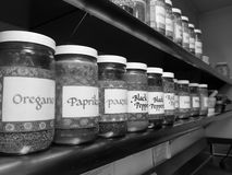 Commercial kitchen: spice rack. Commercial kitchen with spice jars on stainless steel shelf - black and white Stock Photo