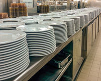 Commercial Kitchen. Thousands of Plates Royalty Free Stock Photos