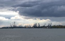 Commercial loading dock. On Danube River, Romania on a cloudy day Royalty Free Stock Image