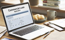 Commercial Loan Business Support Concept. Commercial Loan Application Registration Form Stock Photos
