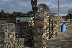Commercial lobster fishing dock with traps Royalty Free Stock Photography