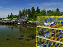 Commercial Lobster traps ready to work Stock Image