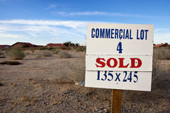 Commercial Lot Sign. On an abandoned piece of land Stock Images