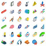 Commercial manager icons set, isometric style. Commercial manager icons set. Isometric set of 36 commercial manager vector icons for web isolated on white Royalty Free Stock Photos