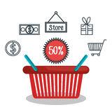 Commercial market icons flat. Illustration design Royalty Free Stock Photography