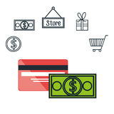 Commercial market icons flat. Illustration design Stock Photos