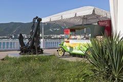 Commercial mobile counter for preparation of hot corn in a retro car on the embankment Gelendzhik, Krasnodar region, Russia Stock Images